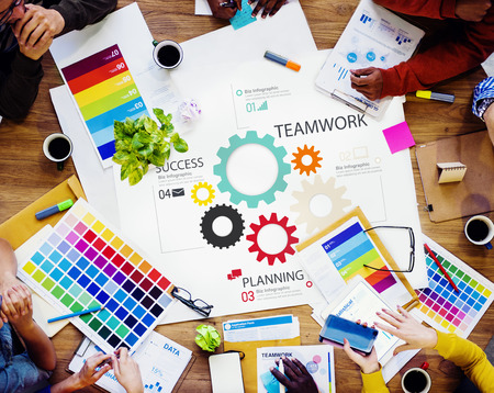people working: Teamwork Team Group Gear Partnership Cooperation Concept