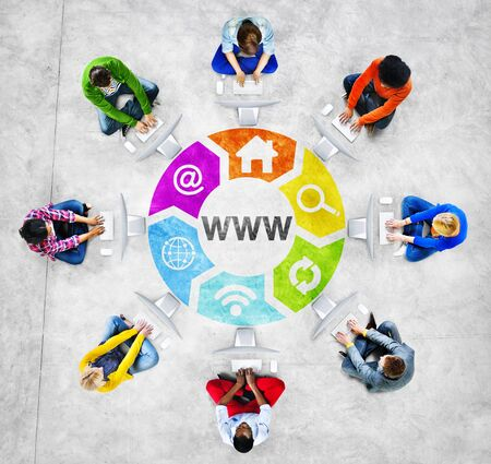 american downloads: People Social Networking and WWW Concept Stock Photo