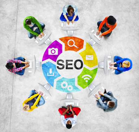 People Social Networking and SEO Concept Stock Photo