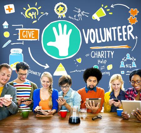 volunteer: Volunteer Charity Help Sharing Giving Donate Assisting Concept