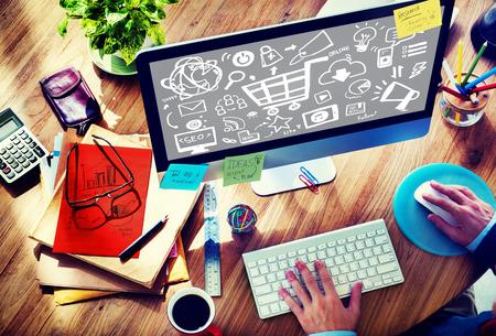 Online Marketing Strategy Branding Commerce Advertising Concept Foto de archivo