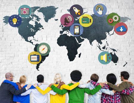 man rear view: Global Media Social Media International Connection Concept