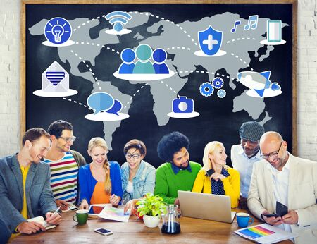 global communications: Social Network Sharing Global Communications Connection Concept Stock Photo