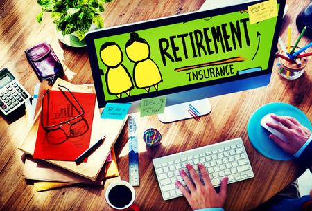 Retirement Insurance Pension Saving Plan Benefits Travel Concept photo