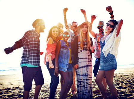 adult: Teenagers Friends Beach Party Happiness Concept Stock Photo