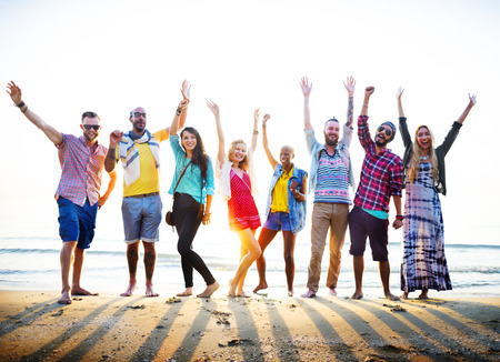 diverse teens: Teenagers Friends Beach Party Happiness Concept Stock Photo