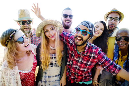 society: Teenagers Friends Beach Party Happiness Concept Stock Photo
