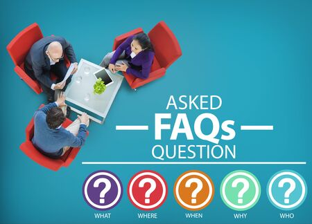 Frequently Asked Questions FAQ Problems Concept photo