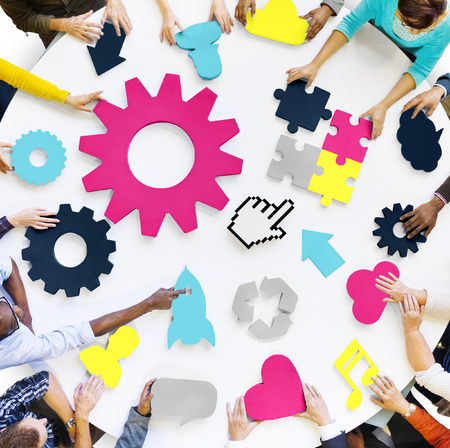 planning strategy: Diversity Teamwork Planning Strategy Support Technology Concept Stock Photo