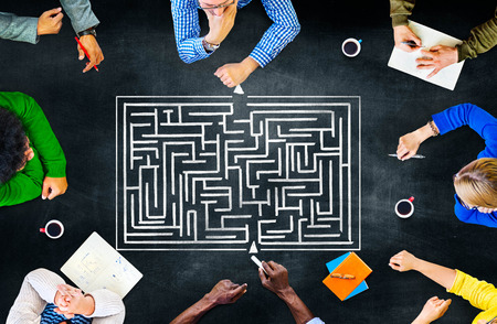 Maze Strategie Succes Solution Bepaling Richting Concept
