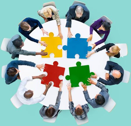 unity: Business People Jigsaw Puzzle Collaboration Team Concept