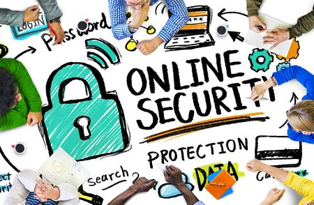 online security: Online Security Protection Internet Safety People Meeting Concept