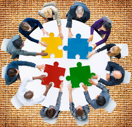 asian business meeting: Business People Jigsaw Puzzle Collaboration Team Concept