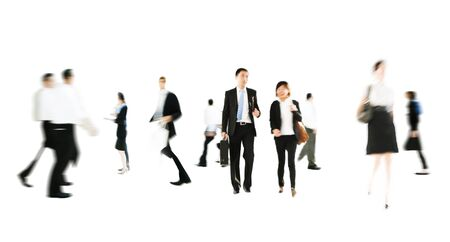RUSH HOUR: Business People Rush Hour Walking Commuting Concept Stock Photo
