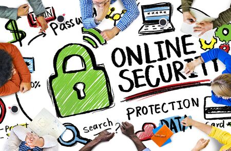 internet safety: Online Security Protection Internet Safety People Meeting Concept