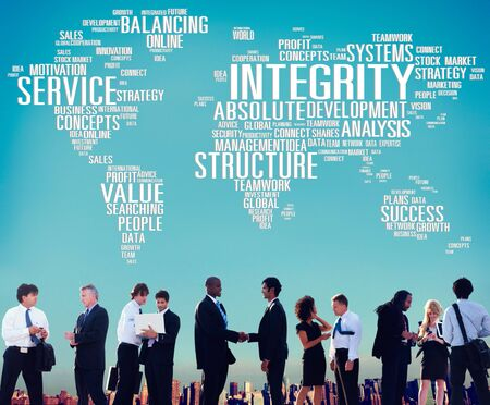 global strategy: Integrity Structure Service Analysis Value Service Concept Stock Photo
