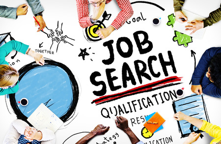 finding employment: Job Search Qualification Resume Recruitment Hiring Application Concept