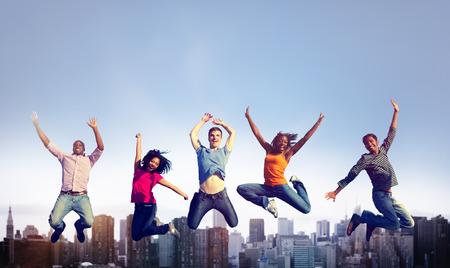 人々 幸福陽気な成功祝賀会コンセプト 写真素材