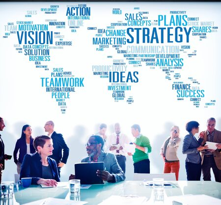 team work: Strategy Action Vision Ideas Analysis Finance Success Concept