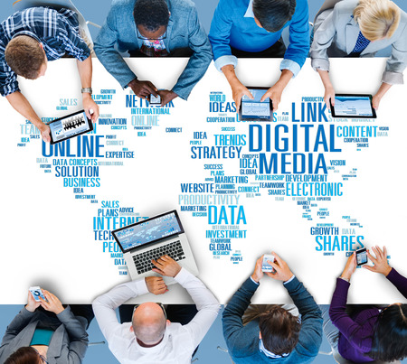Digital Media Online Social Networking Communication Concept Stok Fotoğraf - 41861756