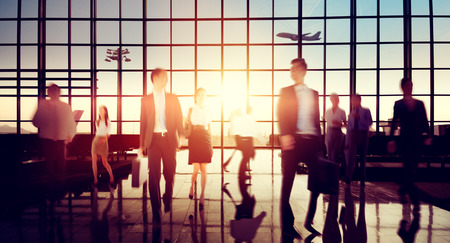 business travel: Airport Business Travel Walking Commuting Concept Stock Photo