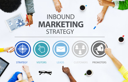 advertising woman: Inbound Marketing Strategy Advertisement Commercial Branding Concept Stock Photo
