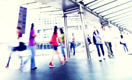 strangers: People Walking Commuter City Concept