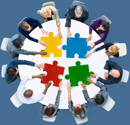 business people meeting: Business People Jigsaw Puzzle Collaboration Team Concept