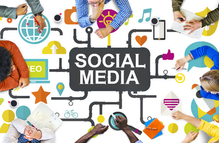 multi media: Social Media Social Networking Connection Global Concept Stock Photo