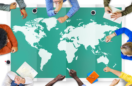 世界のグローバル ビジネス地図作成グローバル化国際コンセプト