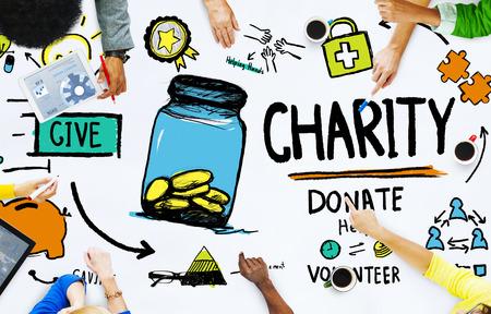 人々 が議論会議与える慈善の概念を寄付ヘルプ 写真素材