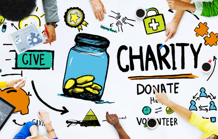 People Discussion Meeting Give Help Donate Charity Concept Stockfoto