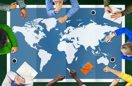 Negocio Global de Cartografía Mundial Globalización Concepto Internacional Foto de archivo - 41862256