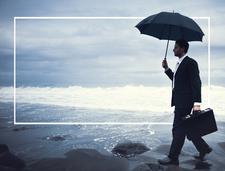 walking in the rain: Lonely Businessman Walking Beach Depression Concept