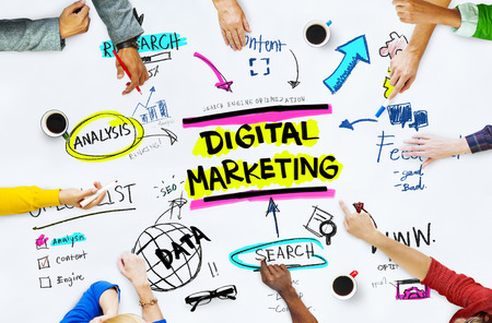 marketing online: Digital Marketing Branding Strategy Online Media Concept Stock Photo