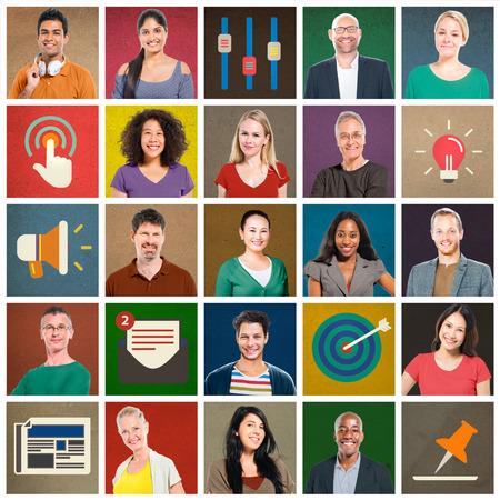 diversity: Multiethnic People Colorful Smiling Portrait Technology Concept