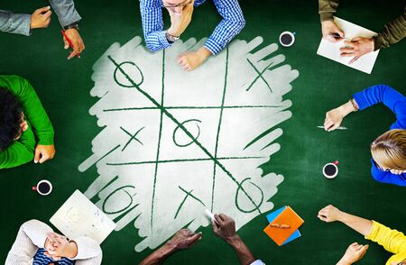 criss cross: Tic-Tac-Toe Strategy Game Criss Cross Leisure Recreation Concept Stock Photo