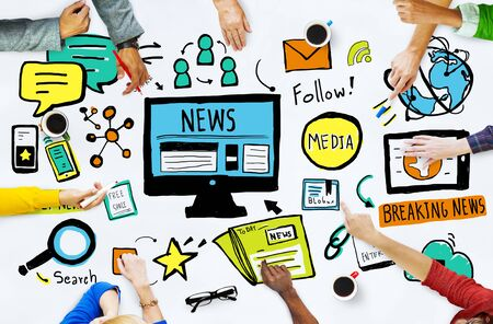 News Breaking News Daily News Follow Media Searching Concept Stockfoto