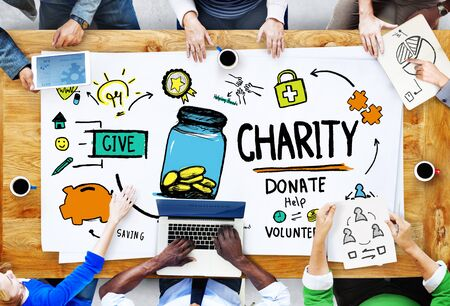 give charity: People Discussion Meeting Give Help Donate Charity Concept Stock Photo