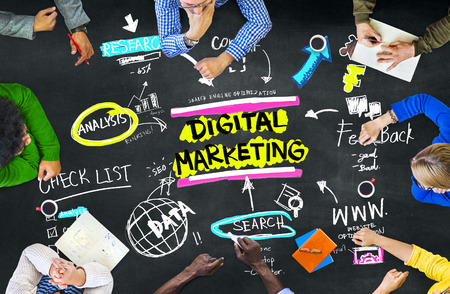 multi media: Digital Marketing Branding Strategy Online Media Concept Stock Photo