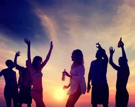 adult beach: People Celebration Beach Party Summer Holiday Vacation Concept