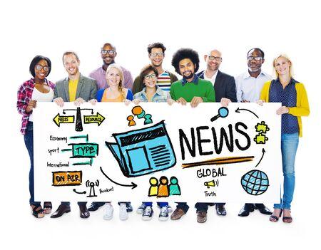 news update: News Journalism Information Publication Update Media Advertisment Concept Stock Photo