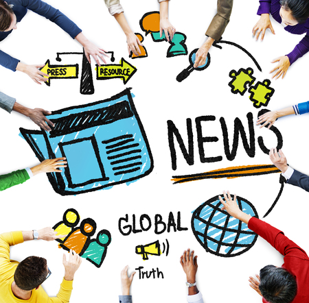 publication: News Journalism Information Publication Update Media Advertisment Concept Stock Photo