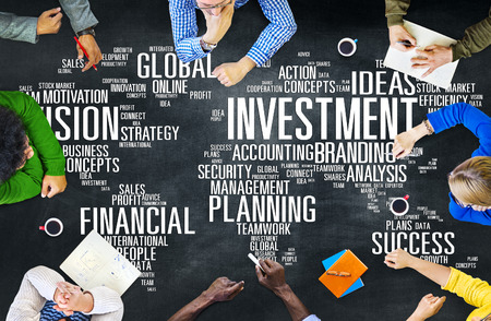 financial team: Investment Global Business Profit Banking Budget Concept Stock Photo