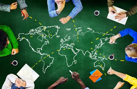 INTERNATIONAL BUSINESS: Ecología Global Mundial Encuentro Internacional Unidad de Aprendizaje Concepto Foto de archivo