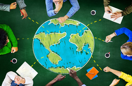 colaboracion: Ecolog�a Global Mundial Encuentro Internacional Unidad de Aprendizaje Concepto Foto de archivo