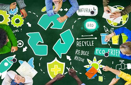 재사용 바이오 에코 친화적 인 환경 개념을 줄이고 재활용