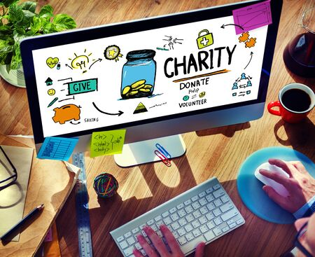 charity work: Working Computer Support Give Help Donate Charity Concept