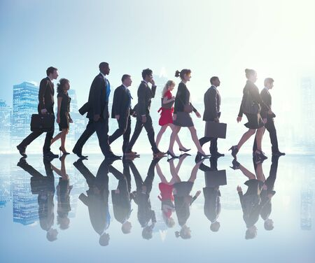 city people: Business People Commuter Cityscape Team Concept Stock Photo