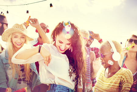 summer festival: Teenagers Friends Beach Party Happiness Concept Stock Photo
